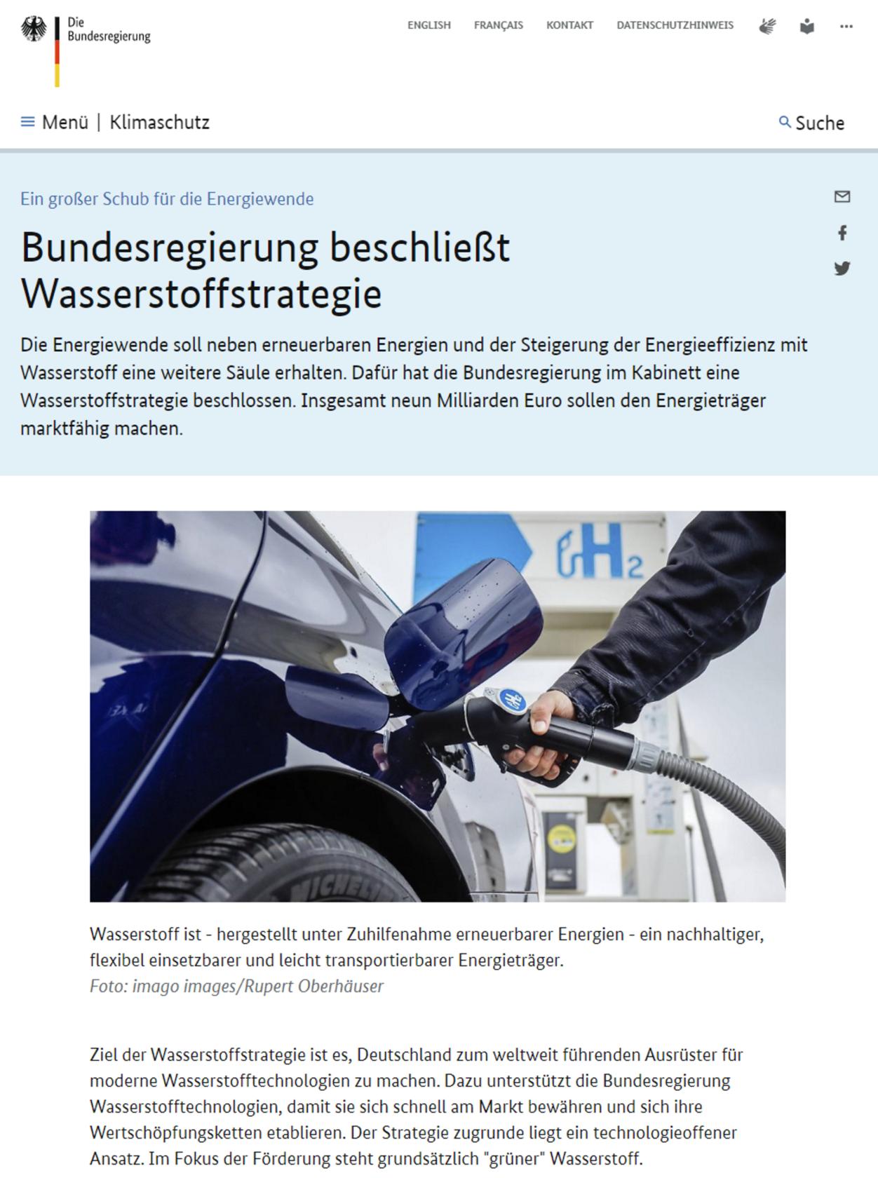 Nationale Wasserstoffstrategie der Bundesregierung - Webseite