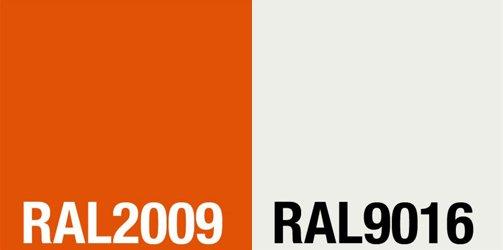 RAL-Farben 2009 (orange) / 9016 (weiß)