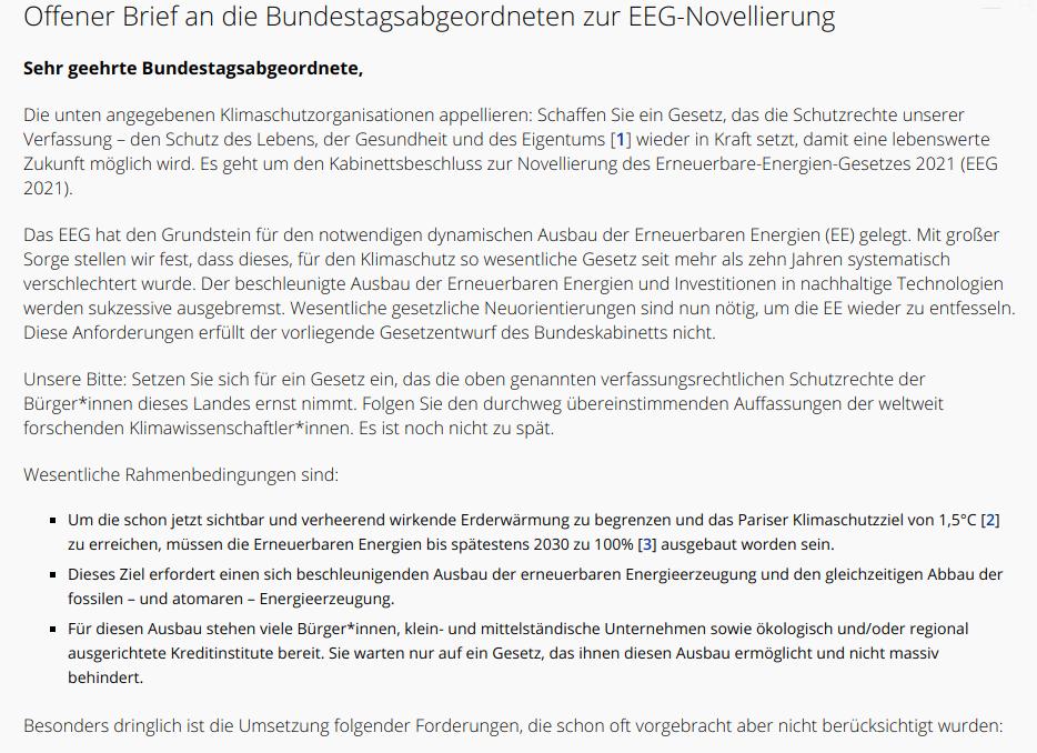 Sreenshot - Offener Brief an die Bundestagsabgeordneten zur EEG-Novellierung