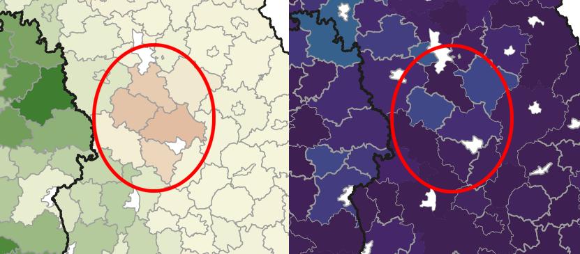 Karte Bestandsentwicklung Rotmilan Bayern und WEA Dichte