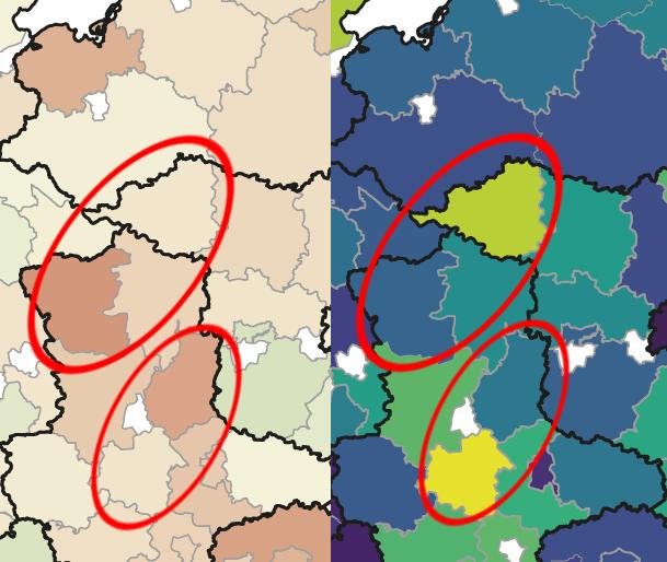 Karte Bestandsentwicklung Rotmilan und WEA Dichte Ostdeutschland