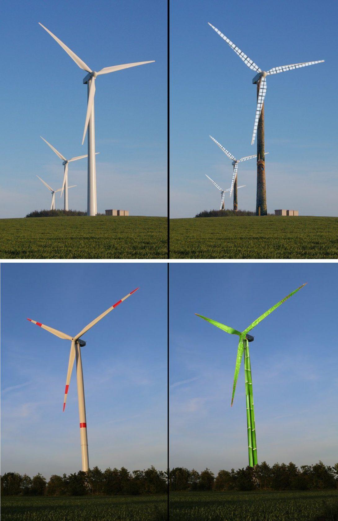 Bemalte Windmühlen (Fotomontage)