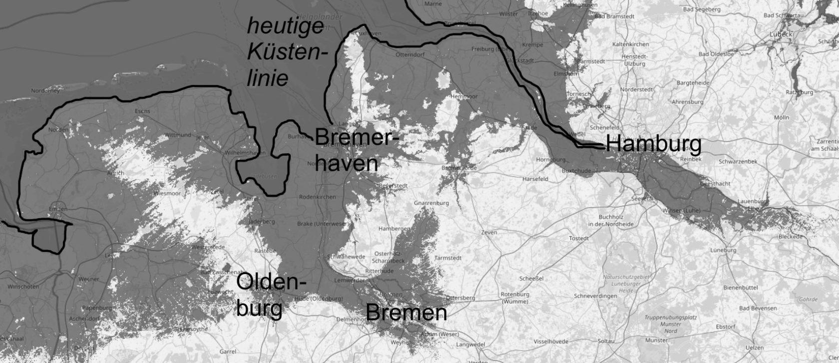Deutsche Nordseeküste bei 5 Meter Meeresspiegelanstieg