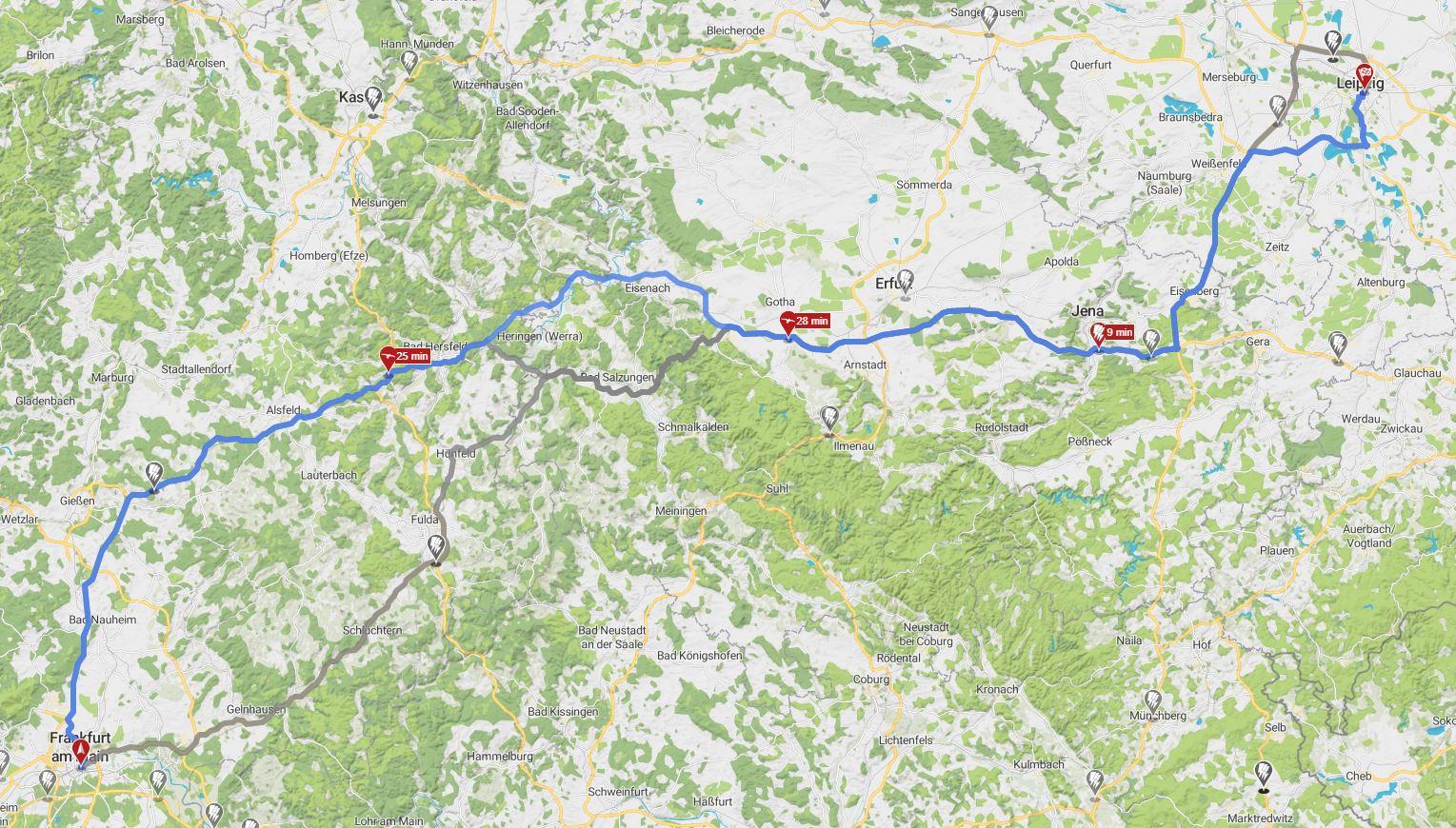 Ladestops für BMW i3 von Frankfurt nach Leipzig
