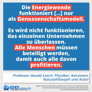 Harald Lesch: Die Energiewende funktioniert nur genossenschaftlich